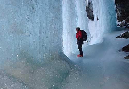 a beautiful iced-up waterfall