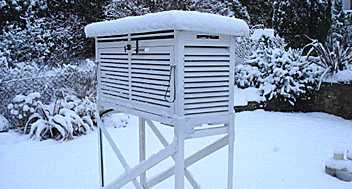 A Stevenson screen in the snow