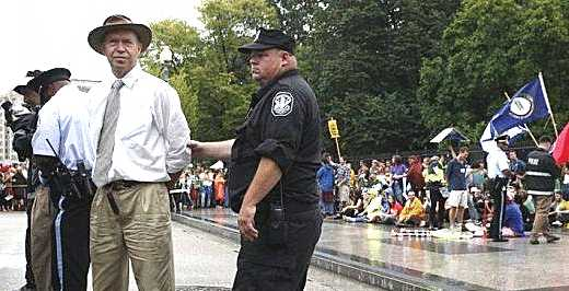 James Hansen under arrest