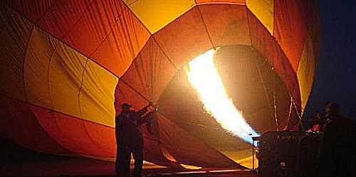 Hot air being blown into a balloon