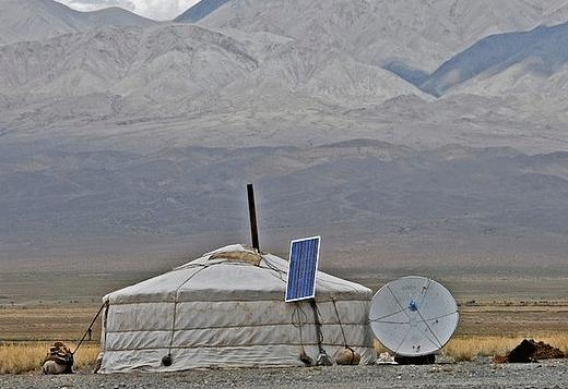 Mongolian yurt with solar panels