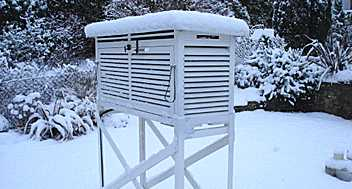 A Stevenson screen in the snow